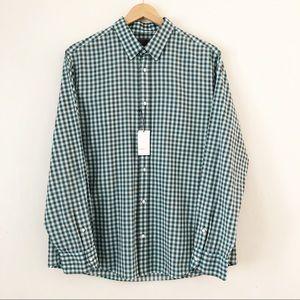 Vince Men's Button Down Shirt Gingham Green